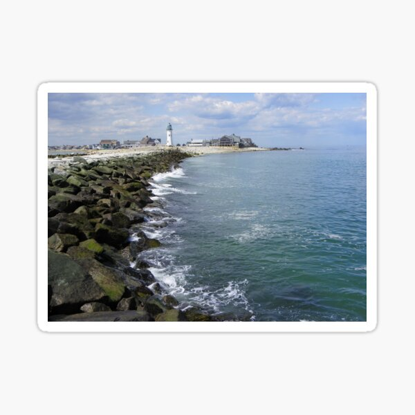 Scituate, Mass Jetty and Lighthouse Sticker