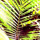 Palm Leaves, Bright Green, Yellow and Magenta by juggleelephants
