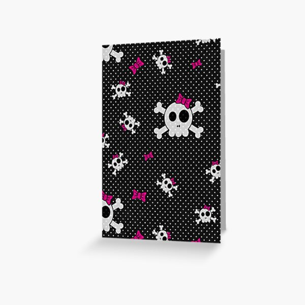 Gothic Girly Skulls Greeting Card