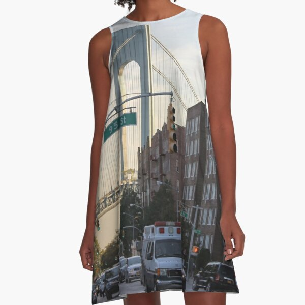 famous place, international landmark, #VerrazanoNarrowsBridge, #FortHamilton, #NewYorkCity, #USA, #american, #culture, #city, #road, #architecture, #street A-Line Dress