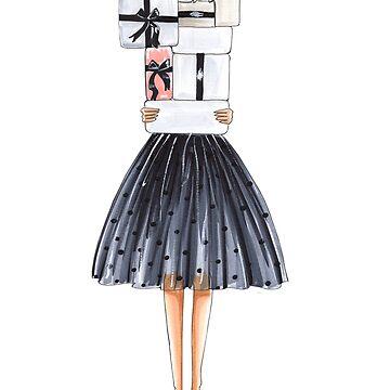 gift girl, gifts, fashion illustration by reyniramirezfi