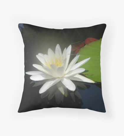 Waterlily with Damselfly Throw Pillow
