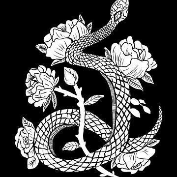 Schlangen & Blumen Witchy Gothic Punk Illustration Black & White von lunaelizabeth