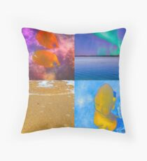 Sealife And Seashore Collage HDR Vertical 3 Throw Pillow