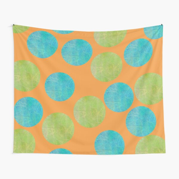 Batik Dots Orange, Aqua, Lime Tapestry