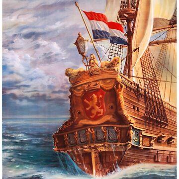 Netherlands Vintage Travel Poster Restored by vintagetreasure