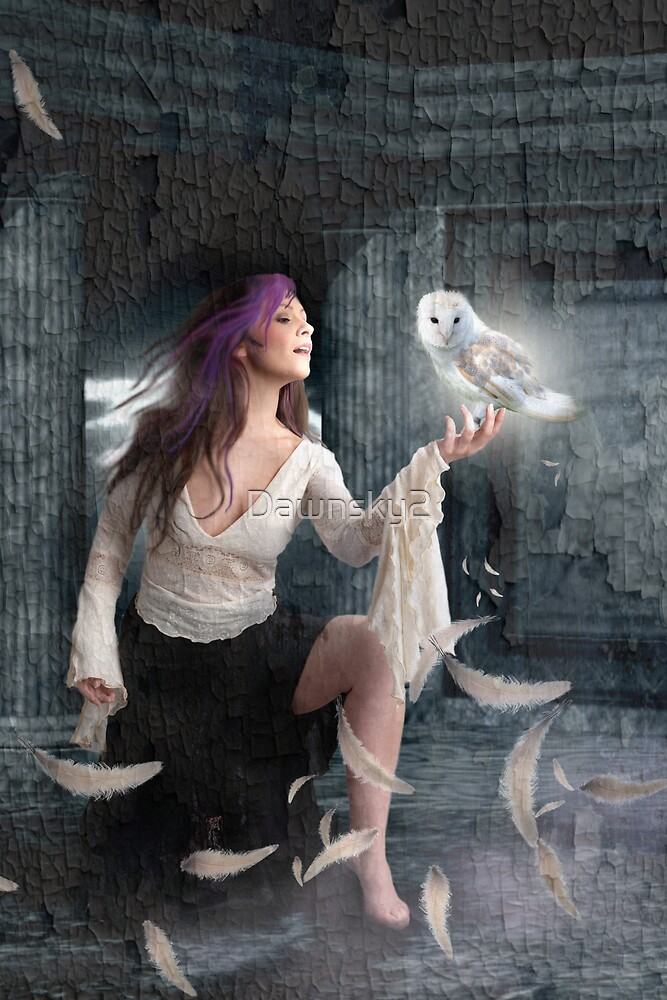 White feather falling by Dawnsky2