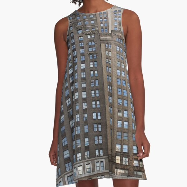 #famous #place, #international #landmark, #Apple Store, New York City, USA, american culture, architecture, city, skyscraper, office, modern, sky, business, cityscape, tower A-Line Dress