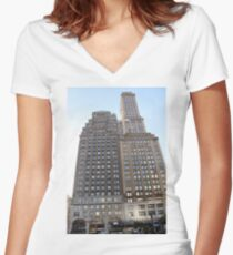 #famous #place, #international #landmark, #Apple Store, New York City, USA, american culture, architecture, city, skyscraper, office, modern, sky, business, cityscape, tower Women's Fitted V-Neck T-Shirt