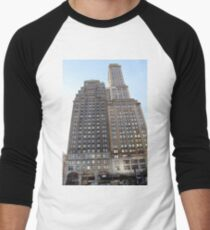 #famous #place, #international #landmark, #Apple Store, New York City, USA, american culture, architecture, city, skyscraper, office, modern, sky, business, cityscape, tower Men's Baseball ¾ T-Shirt