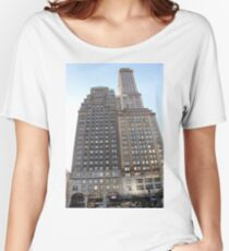 #famous #place, #international #landmark, #Apple Store, New York City, USA, american culture, architecture, city, skyscraper, office, modern, sky, business, cityscape, tower Women's Relaxed Fit T-Shirt