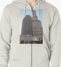 #famous #place, #international #landmark, #Apple Store, New York City, USA, american culture, architecture, city, skyscraper, office, modern, sky, business, cityscape, tower Zipped Hoodie