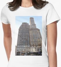 #famous #place, #international #landmark, #Apple Store, New York City, USA, american culture, architecture, city, skyscraper, office, modern, sky, business, cityscape, tower Women's Fitted T-Shirt