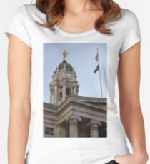 #famous #place, #international #landmark, Bunker Hill Monument, Dock Square, USA, #american culture, statue, dome, spire, architecture Women's Fitted Scoop T-Shirt