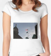#flag, architecture, #patriotism, city, outdoors, #sky, #sculpture, statue, #government Women's Fitted Scoop T-Shirt