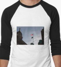#flag, architecture, #patriotism, city, outdoors, #sky, #sculpture, statue, #government Men's Baseball ¾ T-Shirt