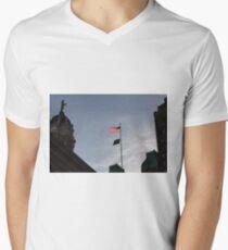 #flag, architecture, #patriotism, city, outdoors, #sky, #sculpture, statue, #government Men's V-Neck T-Shirt