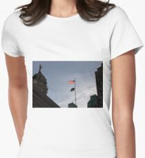#flag, architecture, #patriotism, city, outdoors, #sky, #sculpture, statue, #government Women's Fitted T-Shirt