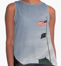 #flag, architecture, #patriotism, city, outdoors, #sky, #sculpture, statue, #government Contrast Tank