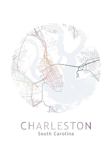 Charleston Map Usa City South Carolina Travel Traveler Gift