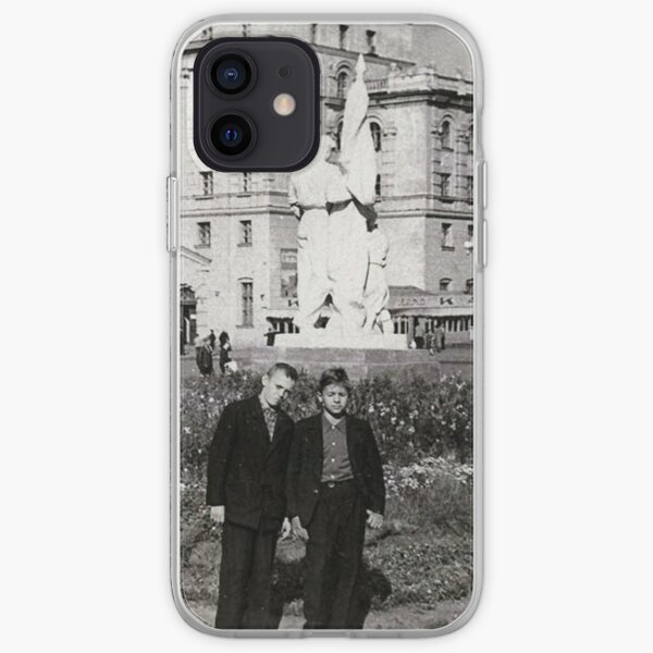 #Norilsk, #Norillag, black and white, #history, #people, group, adult, street, built structure, monochrome, #photography, residential building iPhone Soft Case