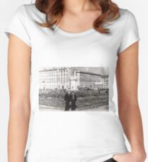 #Norilsk, #Norillag, black and white, #history, #people, group, adult, street, built structure, monochrome, #photography, residential building Women's Fitted Scoop T-Shirt