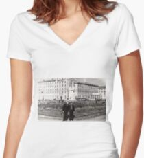 #Norilsk, #Norillag, black and white, #history, #people, group, adult, street, built structure, monochrome, #photography, residential building Women's Fitted V-Neck T-Shirt