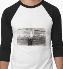 #Norilsk, #Norillag, black and white, #history, #people, group, adult, street, built structure, monochrome, #photography, residential building Men's Baseball ¾ T-Shirt