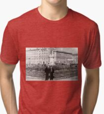 #Norilsk, #Norillag, black and white, #history, #people, group, adult, street, built structure, monochrome, #photography, residential building Tri-blend T-Shirt