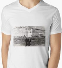 #Norilsk, #Norillag, black and white, #history, #people, group, adult, street, built structure, monochrome, #photography, residential building V-Neck T-Shirt