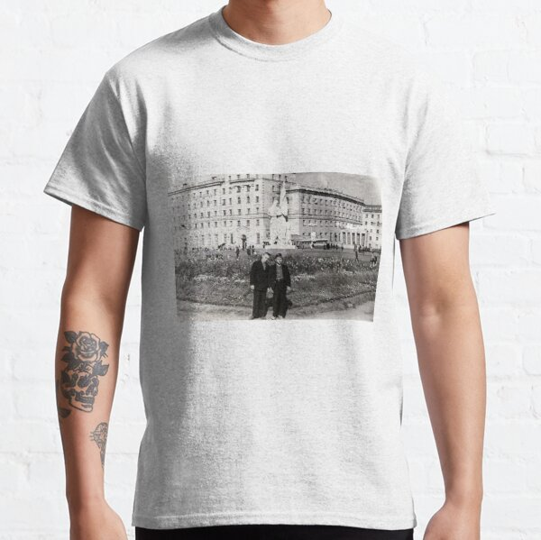 Political Poster, #Norilsk, #Norillag, black and white, #history, #people, group, adult, street, built structure, monochrome, #photography, residential building Classic T-Shirt