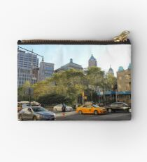 #car, #street, #city, #road, #travel, traffic, architecture, outdoors, modern, town Zipper Pouch