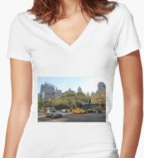 #car, #street, #city, #road, #travel, traffic, architecture, outdoors, modern, town Women's Fitted V-Neck T-Shirt