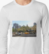 #car, #street, #city, #road, #travel, traffic, architecture, outdoors, modern, town Long Sleeve T-Shirt
