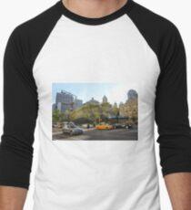 #car, #street, #city, #road, #travel, traffic, architecture, outdoors, modern, town Men's Baseball ¾ T-Shirt