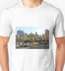 #car, #street, #city, #road, #travel, traffic, architecture, outdoors, modern, town Unisex T-Shirt