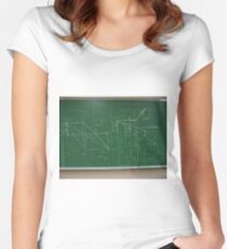 #classroom, mathematics, #education, #handwriting, writing, #formula, algebra, #physics, calculus, chalk out, chalk drawing Women's Fitted Scoop T-Shirt