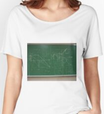 #classroom, mathematics, #education, #handwriting, writing, #formula, algebra, #physics, calculus, chalk out, chalk drawing Women's Relaxed Fit T-Shirt