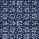 Vintage blue ceramic tiles pattern by Anna Lemos