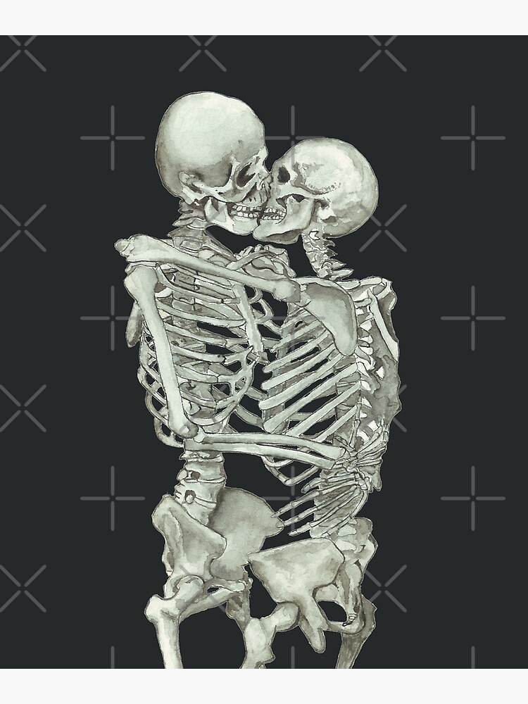 Skeleton Kiss: Immortal Lovers, Anatomy Love Valentines Gift by osuariumfloreus