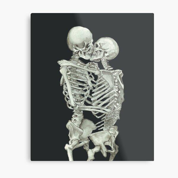 Skeleton Kiss: Immortal Lovers, Anatomy Love Valentines Gift Metal Print
