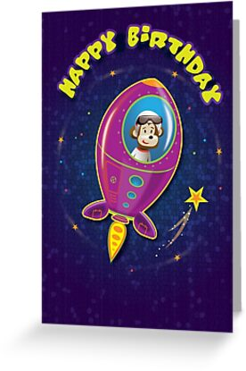 Space Monkey birthday card by Beesty