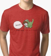 RAWR! it means i love you in dinosaur Tri-blend T-Shirt