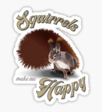 Squirrels make me happy, low poly, 3D Sticker