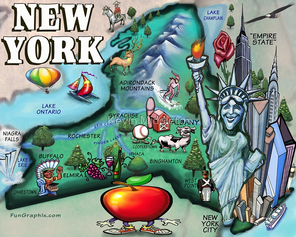 Quot New York State Cartoon Map Quot By Kevin Middleton Redbubble