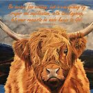 Highland Cow - With Philippians 4:6 Bible Verse by EuniceWilkie