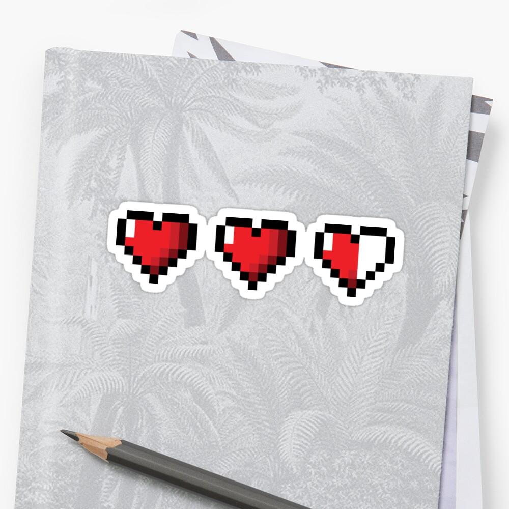 Corazones de videojuegos de medio corazón Pegatina