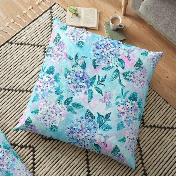 Hydrangeas & Hummingbirds Floor Pillow