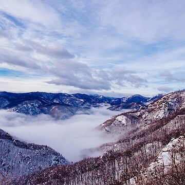 Winter morning in the mountains above the clouds by monicamarcov