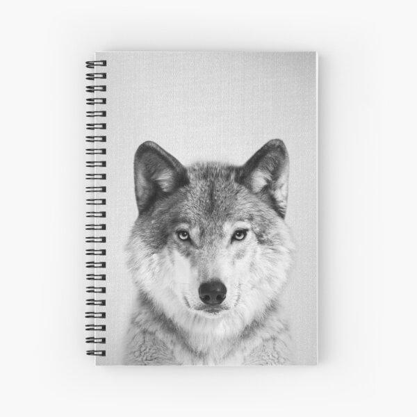 Wolf - Black & White Spiral Notebook